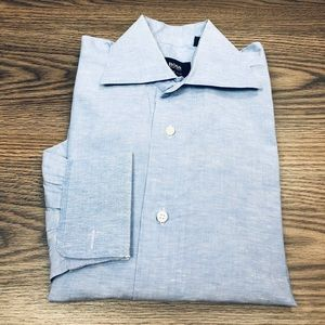 Hugo Boss Blue Check French Cuff Dress Shirt 15